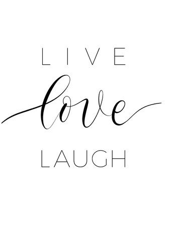 Rire d'amour en direct - vecteur d'affiche de lettrage minimaliste.