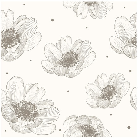 Seamless peony pattern on beige vector background.