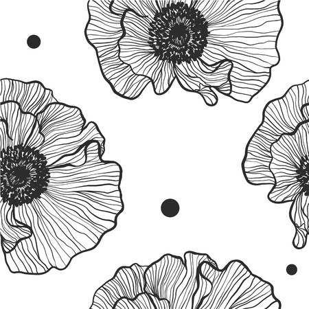 Floral seamless pattern of monochrome poppies on a white background vector.