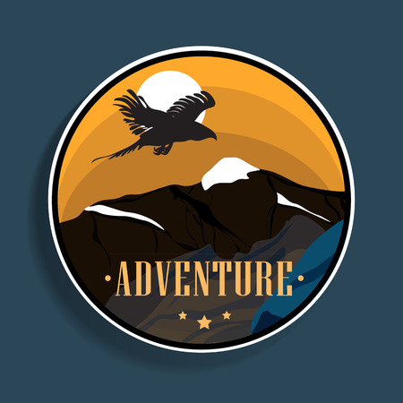 Mountain travel emblems. Camping adventure emblems for your buisness. Mountain tourism, adventure  in vintage style.