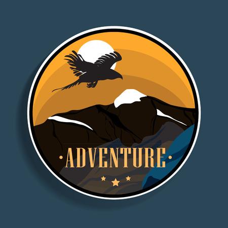 Emblemen voor reizen in de bergen. Camping avontuur emblemen voor uw zaken. Bergtoerisme, avontuur in vintage stijl.