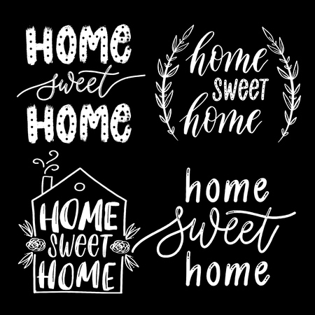 Home sweet home - hand drawn vector lettering set inscriptions  for decor, print, textile.