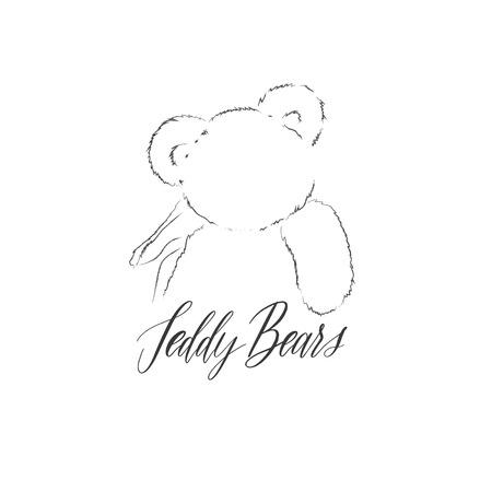 Teddy Bears - logo with bears and lettering inscription vector f