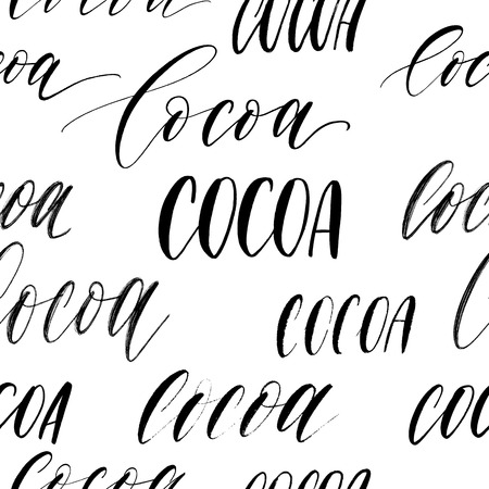 Seamless patern lettering inscriptions Cocoa vector.