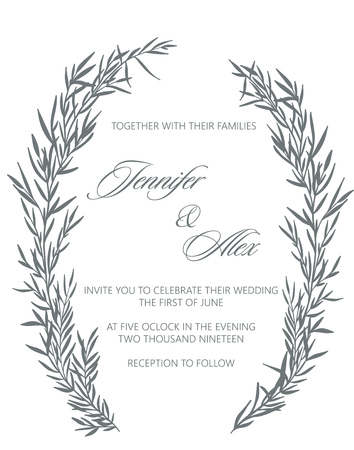 Wedding invitation pattern with  leaves and brunch  vector.