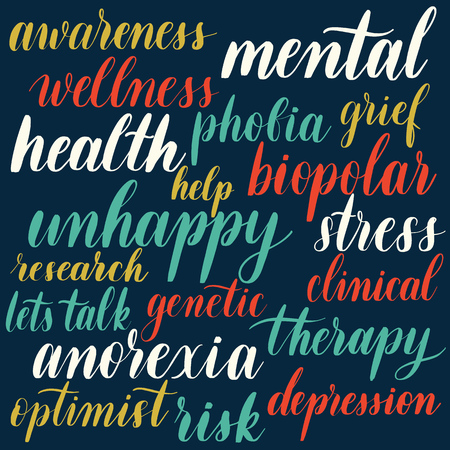 Set of words about mental health - hand lettering vector inscription.