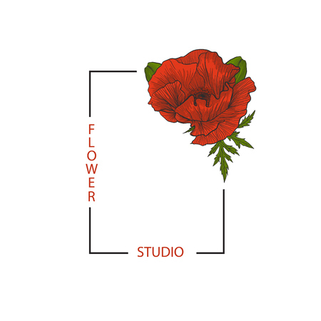 Rectangular frame with text Flower Studio and red poppy for your brand.