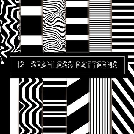 Ensemble de vecteur de motifs rayés noirs et blancs sans soudure.