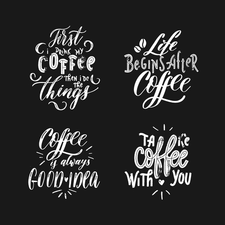 Set of vector coffee cards, poster  lettering inscription. Mugs,