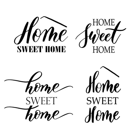 Home sweet home - Hand drawn set  lettering vector for print, te