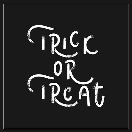 Trick or treat - hand lettering halloween vector.