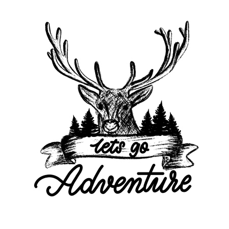 Lets go travel - lettering, deer with branchy horns in the forest among the trees. Adventure motivation concept, vector illustration. Illustration