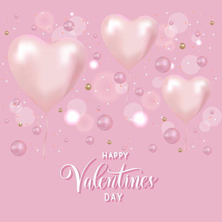 Volumetric pink 3 d vector heart shaped balloons. Happy Valentine's Day festive background. Иллюстрация