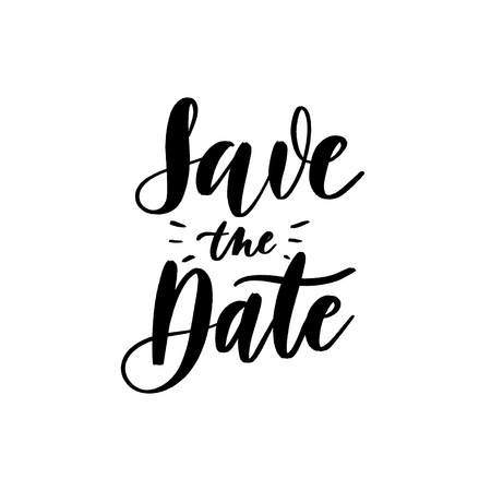 Save the date - Vector  handwritten lettering. Hand drawn brush style modern calligraphy. Ilustração