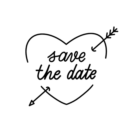 Save the date Hand Drawing Vector Lettering design.