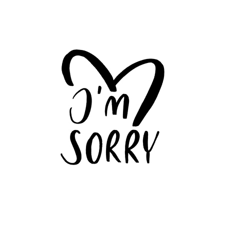I'm sorry - Vector  handwritten lettering. Hand drawn brush style modern calligraphy. Foto de archivo