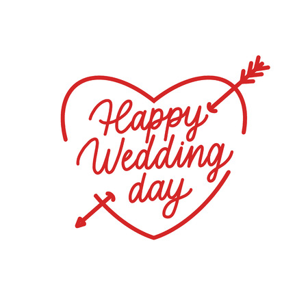 Happy Wedding Day Hand Drawing Vector Lettering design.