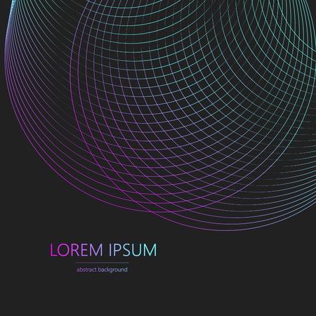 Rahmen Neonwelle. Kreiswirbel mit farbigen Kurven. Vektor-Illustration.