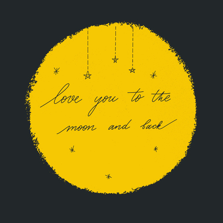 Love you to the moon and back. Vector black  illustration  with