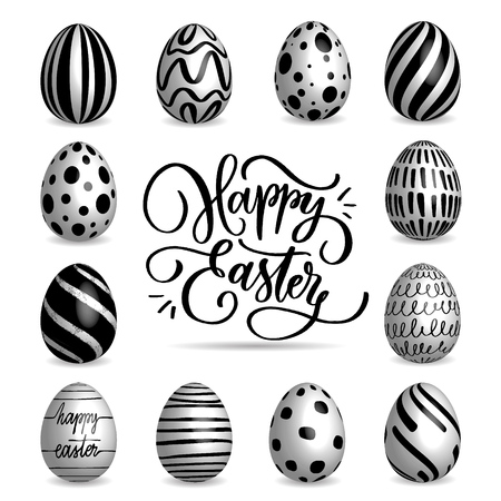 Set of black and white Easter eggs collection on a white background. Modern calligraphy, hand lettering and hand drawn pattern on eggs. Ilustração