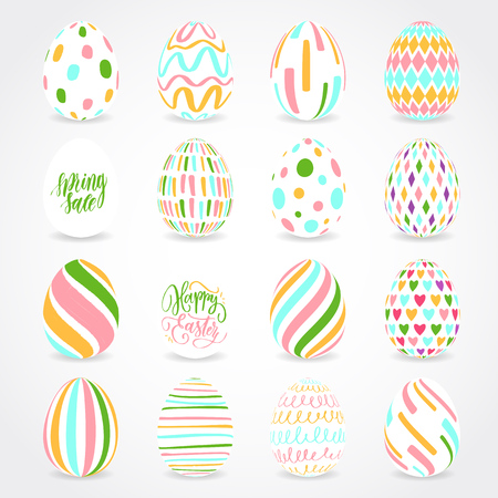 Vector illustration of multicolored Easter eggs collection on a white background. Modern calligraphy, hand lettering and hand drawn pattern on eggs. Ilustração