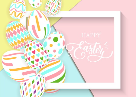 Happy Easter sale banner background template with beautiful colorful  eggs and 3d frame. Vector illustration.