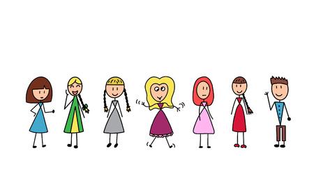 Glückliche Kinderkarikatursammlung. Kinder in verschiedenen Positionen auf weißem Hintergrund.