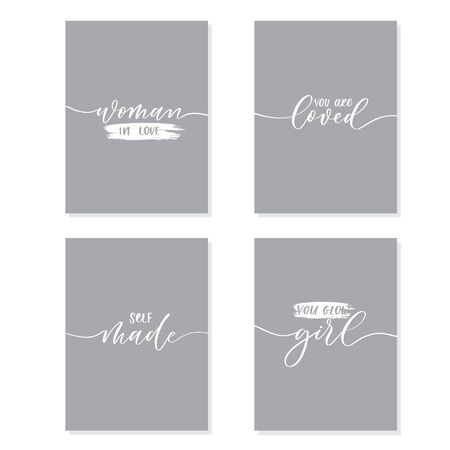 Set of women motivate calligraphy  phrases for t-shirt and other design.