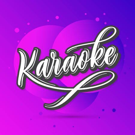Karaoke -  hand lettering neon card.
