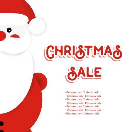 Santa Claus. Cute cartoon character. Christmas Sale  lettering card.