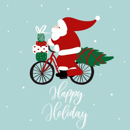 Funny Santa Claus on on a bicycle with gift boxes and Christmas tree. Vector cartoon illustration.Happy holiday lettering. Stock Illustratie