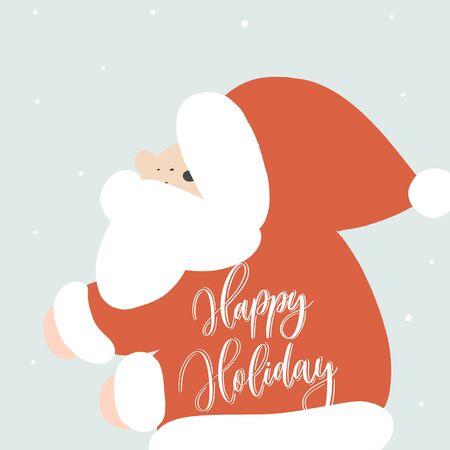 Funny Santa Claus. Vector cartoon illustration.Happy holiday lettering.