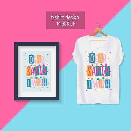 Dear Santa i wish. Lettering motivational quotes. T-shirt design.