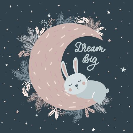 Dream Big. Little bunny sleeping on the moon vector.