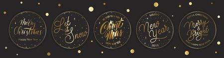 Merry Christmas  gold  holidays balls, stars, snowflakes and lettering.