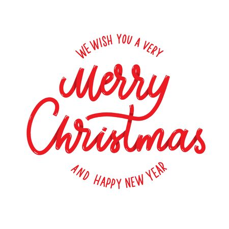 We wish you a very Merry Christmas and Happy New year lettering.