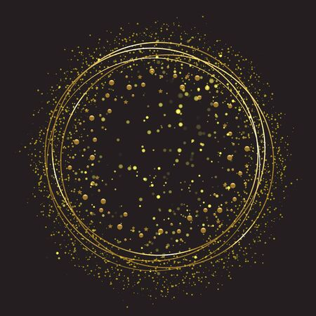 Golden round frame with sparkles, balls and stars - template for New Year greetings, labels