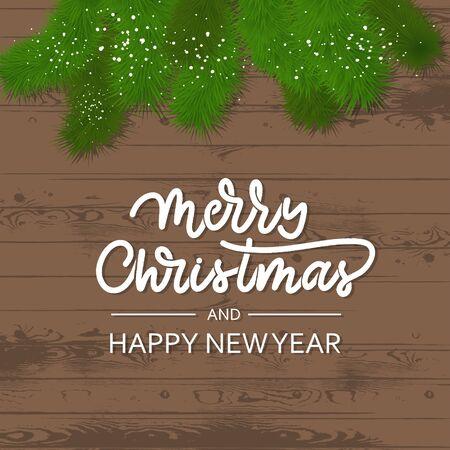 Pine branches on a wooden background. Merry Christmas card. Illusztráció