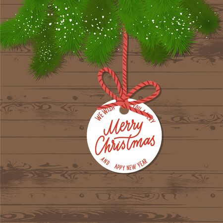 Pine branches on a wooden background. Merry Christmas tag on red rope. Illusztráció