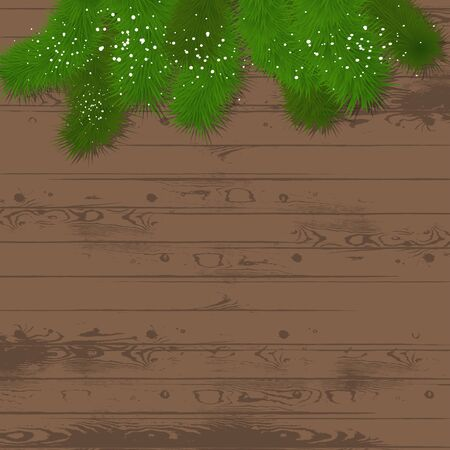 Pine branches on a wooden background - festive  template