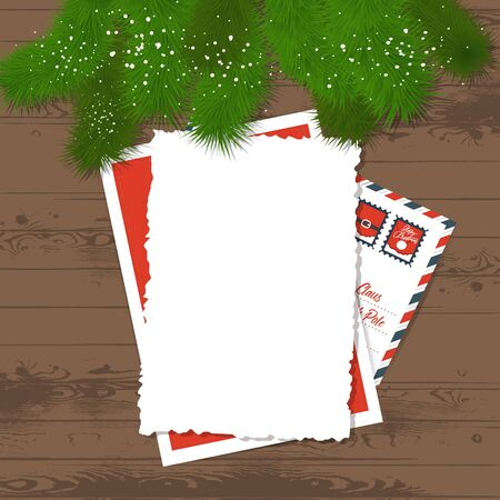 Pine branches on a wooden background - festive letter    template