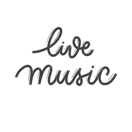 Live music. Card  with calligraphy. Hand drawn  modern lettering.