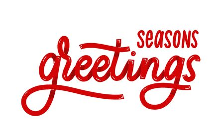 Seasons greetings. Card  with calligraphy. Hand drawn  modern lettering.