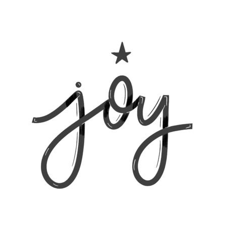 Joy. Card  with calligraphy. Hand drawn  modern lettering.