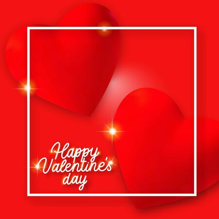 Valentines Day background with 3d red and golden hearts, lights and text. Holiday card illustration on red background.