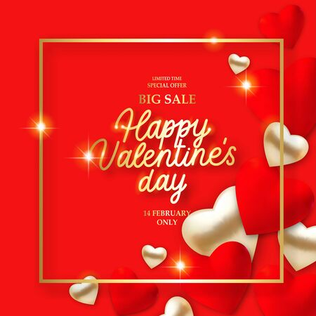 Valentines Day background with 3d red hearts, lights and text. Holiday card illustration on red background. Discount bunner special offer Big Sale.