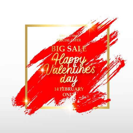 Valentines day sale banner. Background with a gold frame and brush red stroke.