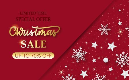 Christmas sale banner. Background with shining snowflakes and stars. New year and Christmas card illustration on red background.