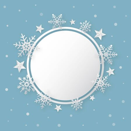Christmas happy new year  blue background with snowflake and stars. Holidays banner.