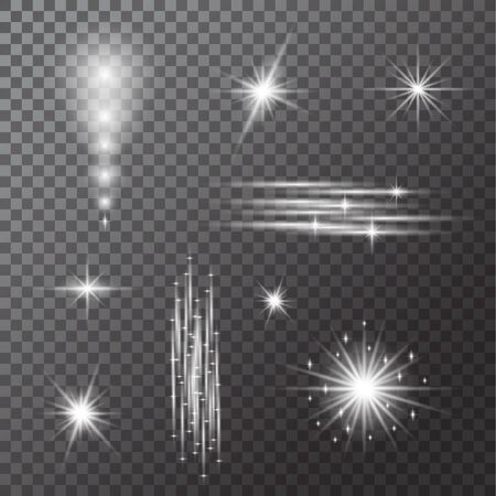 Set of Lights bulbs isolated on transparent background. Glowing  garlands string. Vector New Year party lights decorations. Illustration